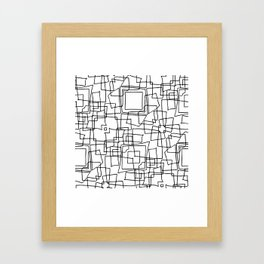 Decorative black and white abstract squares Framed Art Print