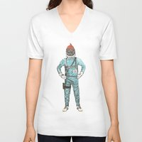 zissou V-neck T-shirts featuring Zissou In Space by Florent Bodart / Speakerine