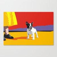 boston terrier Canvas Prints featuring Boston terrier by Matt Mawson