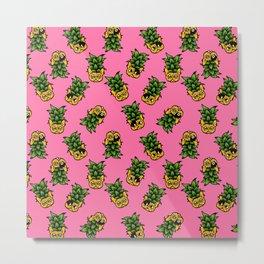 Pineapple Frenchie Metal Print