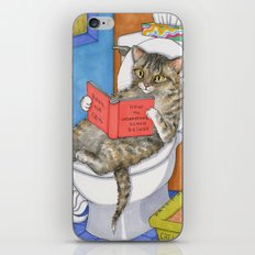 Cat on toilet iPhone & iPod Skin