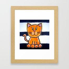 BW YELLOW cat  Framed Art Print