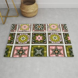 Talavera Mexican Tile – Blush & Sage Palette Rug