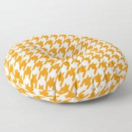 Orange: Houndstooth Checkered Pattern Floor Pillow