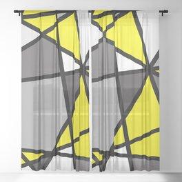 Triangels Geometric Lines yellow - grey - white Sheer Curtain