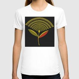 Mid Century Modern Dandelion Seed Head In Aspen Gold T-shirt