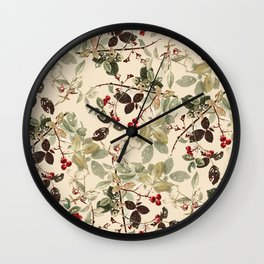 Vintage ivory red green forest berries floral Wall Clock