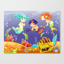 Baby Sirens and Baby Triton with background. Canvas Print