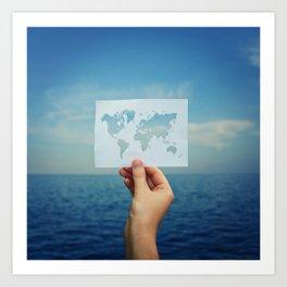 holding the world map Art Print