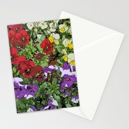 Red Purple Yellow Flowers by Daniel MacGregor Stationery Cards