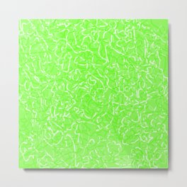 Chaotic white tangled ropes and green pastel lines. Metal Print