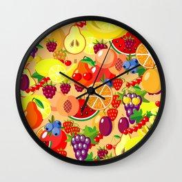 Flat fruits seamless pattern. Flat Illustrations of watermelon, banana, cherry, apple Wall Clock
