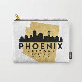 PHOENIX ARIZONA SILHOUETTE SKYLINE MAP ART Carry-All Pouch