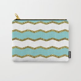 Chevron Mermaid Pattern - Golden Blue Carry-All Pouch
