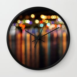 Bokeh City Night Lights Wall Clock