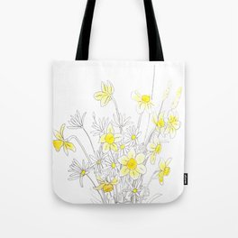 white daisy and yellow daffodils ink and watercolor Tote Bag