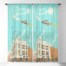VINTAGE FLYING CAR Sheer Curtain