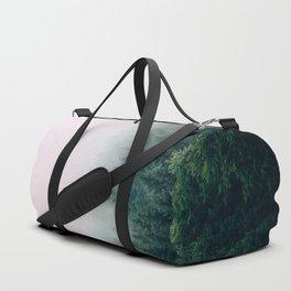 Misty Green Pine Forest Grey Fog Duffle Bag