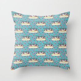 Banana Split Boston Pups with Cherries and Ice Cream Scoops Throw Pillow
