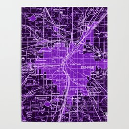 Denver Colorado map, year 1958, purple filter Poster