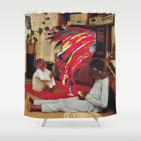 tv Shower Curtains featuring Television by Lerson