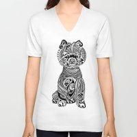 pomeranian V-neck T-shirts featuring Polynesian Pomeranian by Huebucket
