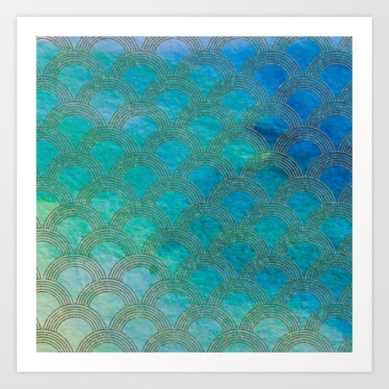 Sea Ocean Waves effect- Gold and Aqua Scales Pattern Art Print