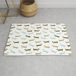 Dachshunds in blue and brown Rug