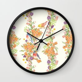 Romantic Vintage Design of Birds & Flowers - Natural colorful Wall Clock