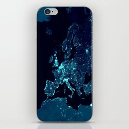 Earth's Night Lights : Teal iPhone Skin