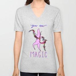 You Are Magic Dancing Unicorn Unisex V-Neck
