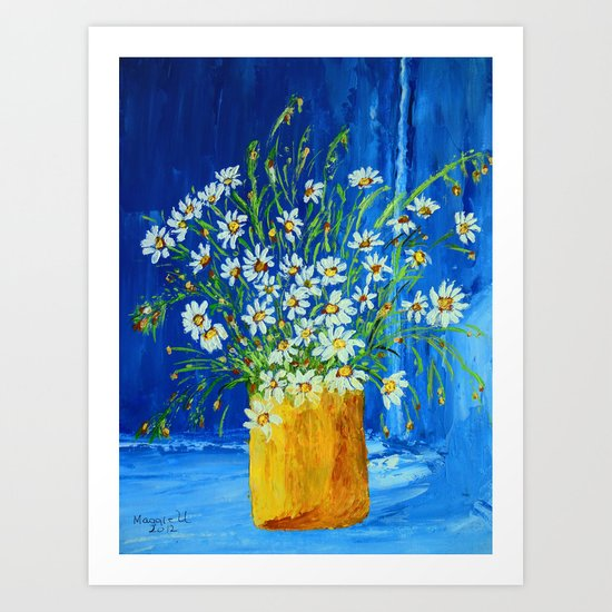 Daisies by the blue wall  Art Print