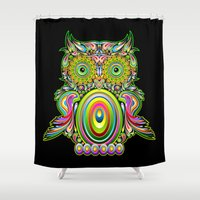 psychedelic art Shower Curtains featuring Owl Psychedelic Art Design by BluedarkArt