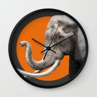 eric fan Wall Clocks featuring Wild 6 by Eric Fan & Garima Dhawan by Garima Dhawan
