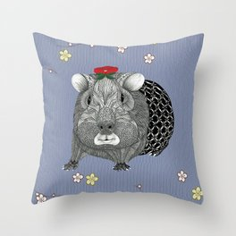 Ms Guinea Pig is dressed up and ready to go party Throw Pillow