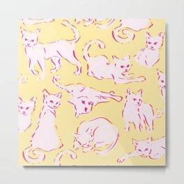 Cat Crazy yellow Metal Print