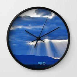Driving on the Salt Flats Wall Clock