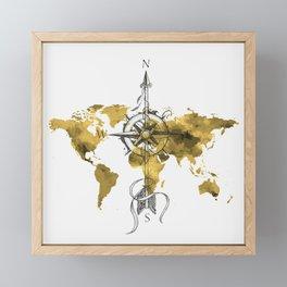 Gold World Map 2 Framed Mini Art Print