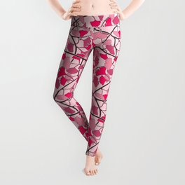 Ginkgo Leaves in Vibrant Hot Pink Tones Leggings