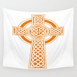 St Patrick's Day Celtic Cross Orange and White Wall Tapestry