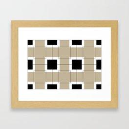 White Hairline Squares in Light Brown Framed Art Print