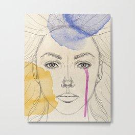 Watercolor and digital drawing, female portrait Metal Print