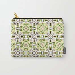 Tropical Botanical Tile , Geometric Bright Lime and Yellow Fruits and Florals Carry-All Pouch