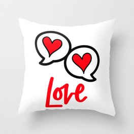 Love - Red hearts Throw Pillow