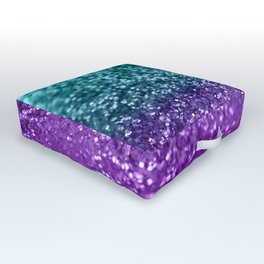 Purple Teal MERMAID Girls Glitter #1 #shiny #decor #art #society6 Outdoor Floor Cushion