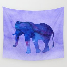 Blue Watercolor Elephant Wall Tapestry