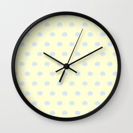Macaron Polka Dots in Yellow + Blue Wall Clock