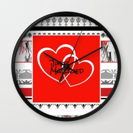 Just Married Hearts red pattern I Wall Clock