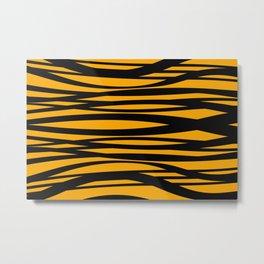 graphic Design Wave Stripes yellow Metal Print