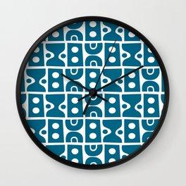 Funky Mid Century Modern Pattern Peacock Blue Wall Clock
